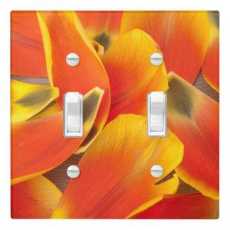 Vibrant Orange Tulip Petals Photograph Light Switch Cover
