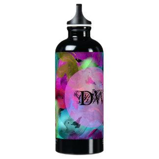 Vibrant Paint Swirl Initials Water Bottle