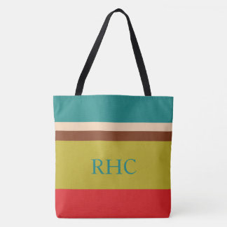 Vibrant Palette Stripe Monogram Tote Bag