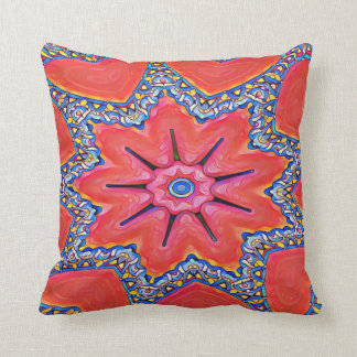 Vibrant Peach Rose Col Kaleidoscope Funky Pattern Throw Pillow
