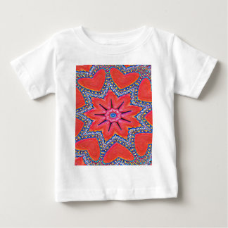 Vibrant Peach Rose Colored Kaleidoscope Pattern Baby T-Shirt