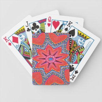 Vibrant Peach Rose Colored Kaleidoscope Pattern Bicycle Playing Cards