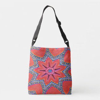 Vibrant Peach Rose Colored Kaleidoscope Pattern Crossbody Bag