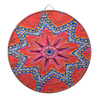Vibrant Peach Rose Colored Kaleidoscope Pattern Dartboard
