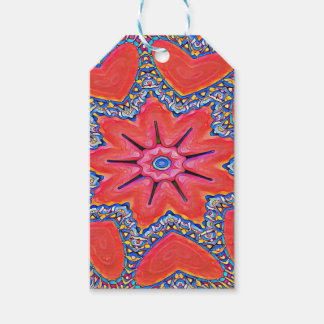 Vibrant Peach Rose Colored Kaleidoscope Pattern Gift Tags