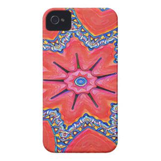 Vibrant Peach Rose Colored Kaleidoscope Pattern iPhone 4 Case-Mate Case