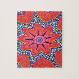 Vibrant Peach Rose Colored Kaleidoscope Pattern Jigsaw Puzzle