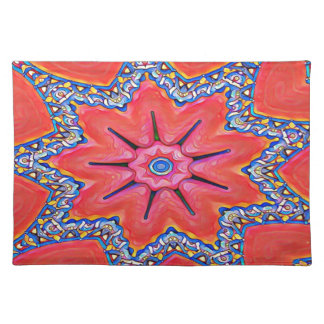Vibrant Peach Rose Colored Kaleidoscope Pattern Placemat