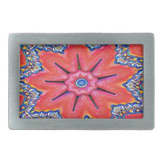 Vibrant Peach Rose Colored Kaleidoscope Pattern Rectangular Belt Buckles
