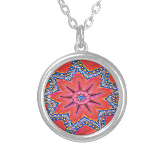 Vibrant Peach Rose Colored Kaleidoscope Pattern Silver Plated Necklace