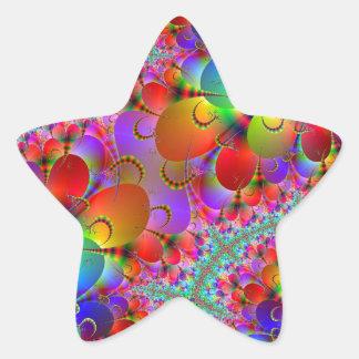 Vibrant Peacocks Tails Star Sticker