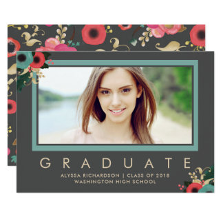 Vibrant | Photo Graduation Announcement Gray
