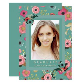 Vibrant | Photo Graduation Party Invitation Teal