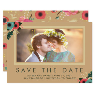 Vibrant | Photo Save the Date in Gold Card