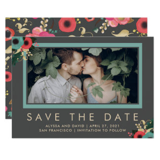 Vibrant | Photo Save the Date in Gray Card