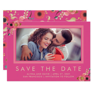 Vibrant | Photo Save the Date in Pink Card