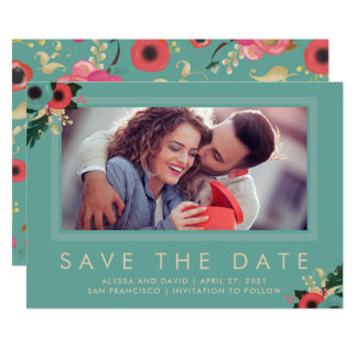 Vibrant | Photo Save the Date in Teal Card