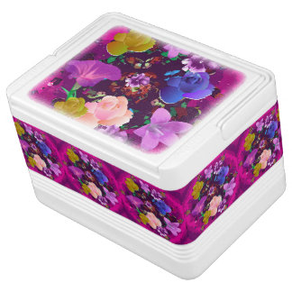 Vibrant Pink Abstract Floral 12 Can Igloo Cooler