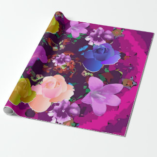 Vibrant Pink Abstract Floral Wrapping Paper
