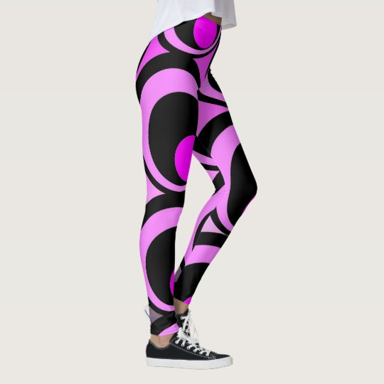 Vibrant pink and black abstract pattern leggings