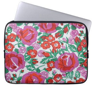 Vibrant Pink and Red Sketched Roses Laptop Sleeves