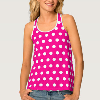 vibrant pink and white polka dot pattern tank top