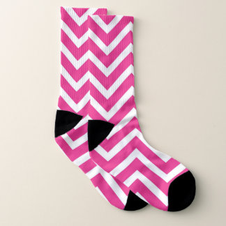 Vibrant pink and white Zigzag pattern Socks