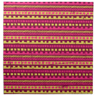 Vibrant Pink and Yellow Aztec Pattern Cloth Napkins