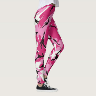 Vibrant pink camouflage pattern leggings