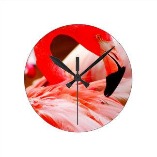 Vibrant Pink Feather Flamingo Clocks