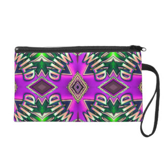 Vibrant Pink Green Funky Chic Wild Pattern Wristlet Purses