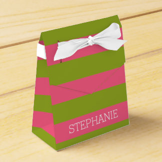Vibrant Pink & Lime Rugby Stripes with Custom Name Favor Box