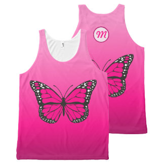 Vibrant Pink Ombre Butterfly Monogram All-Over-Print Tank Top