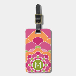 Vibrant Pink Orange Lime Bohemian Flower Monograms Luggage Tag