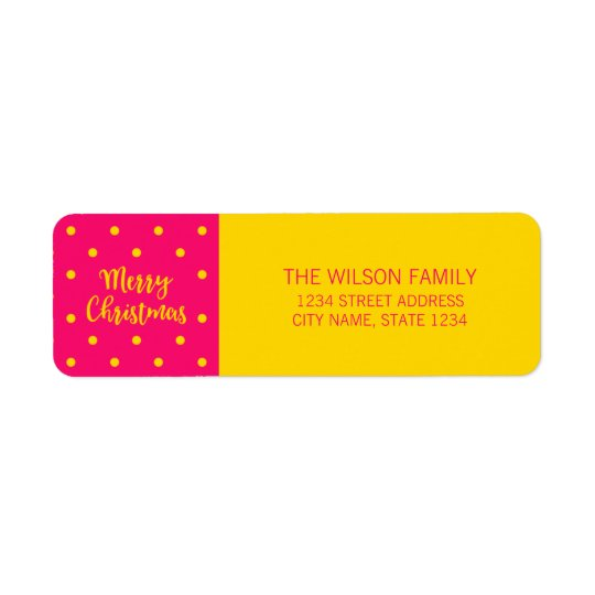 Vibrant Pink Polka Dot Merry Christmas Address Return Address Label