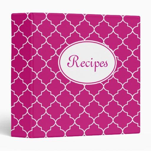 Vibrant Pink Recipe Binder