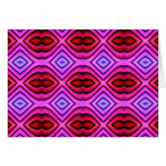 Vibrant Pink Red Flourescent Lips Shaped Pattern Card