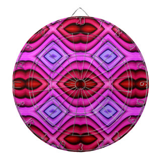 Vibrant Pink Red Flourescent Lips Shaped Pattern Dartboard