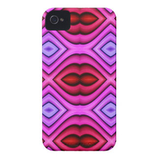 Vibrant Pink Red Flourescent Lips Shaped Pattern iPhone 4 Covers