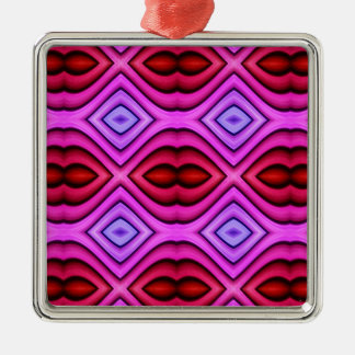 Vibrant Pink Red Flourescent Lips Shaped Pattern Metal Ornament