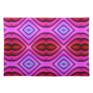 Vibrant Pink Red Flourescent Lips Shaped Pattern Placemat