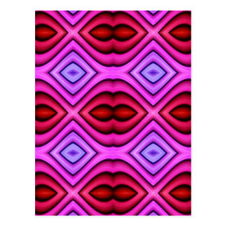 Vibrant Pink Red Flourescent Lips Shaped Pattern Postcard