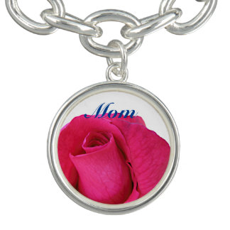 Vibrant Pink Rose for Mom Happy Mother's Day Charm Bracelets