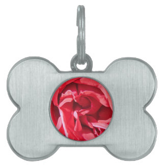 Vibrant Pink Rose Petals Pet Name Tag