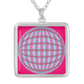 Vibrant Pink/Soft Turquoise Pattern Globe Design Silver Plated Necklace