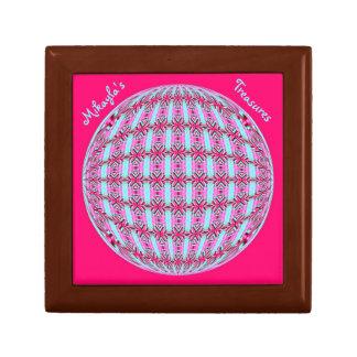 Vibrant Pink/Soft Turquoise X Pattern Globe Design Gift Box
