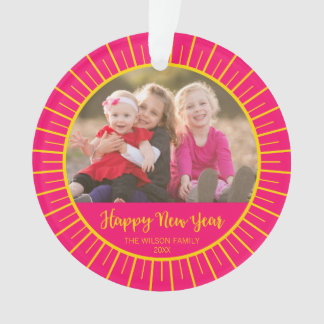 Vibrant Pink Yellow Starburst Happy New Year Photo