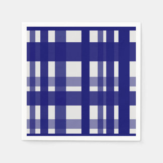Vibrant Plaid Navy & Grey Napkin
