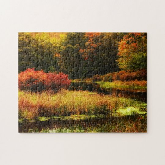 Vibrant Poconos Autumn Scene Jigsaw Puzzle