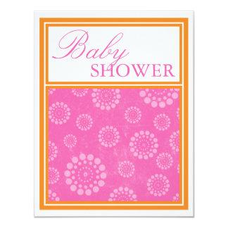 Vibrant Pop Pink Orange Baby Shower Invitations